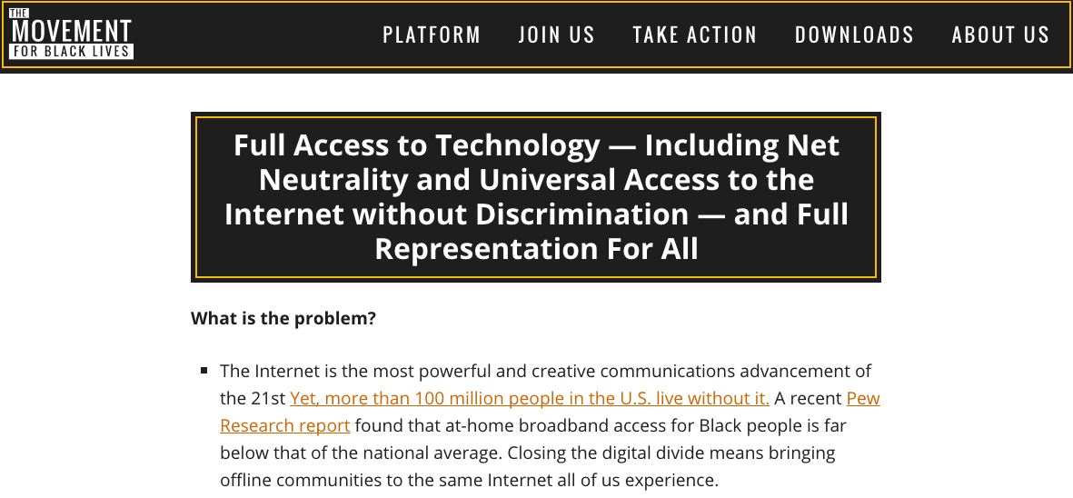 "A screenshot of the Movement for Black Lives policy proposal includes a call for ""full access to technology"" including Net Neutrality."
