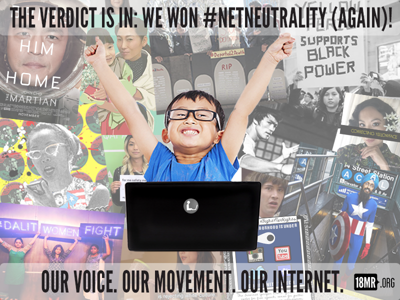 "A meme depicts a young Asian child with arms raised in celebration. Behind him is a collage of Asian American Internet pop culture trends and movements. The text reads: ""The verdict is in: we won Net Neutrality (again)! Our voice. Our movement. Our internet."""
