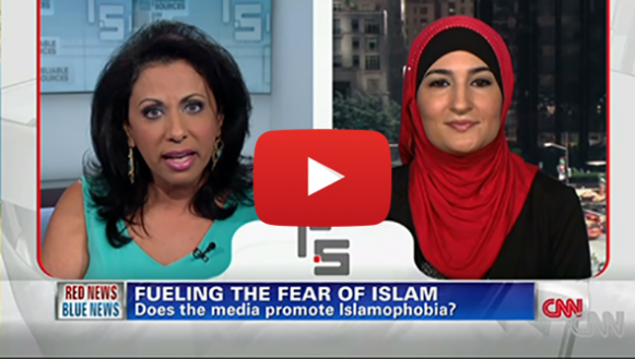 "Linda Sarsour appears on a CNN interview. The caption reads: ""Fueling the Fear of Islam: does the media promote Islamophobia?""."