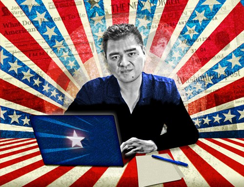 Jose Antonio Vargas, a Filipino American man in a blue shirt, sits behind a blue laptop. Behind him, there is a stylized stars-and-stripes burst background with images of newspaper headlines.