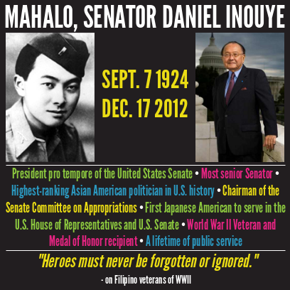 A graphic displays an image of a black-and-white photo of Inouye in military uniform, and an image of an older Inouye before the U.S. Congress. Text reads: September 7, 1924-December 17, 2012.