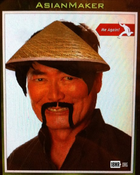 George Takei, Asian American man's picture after it is submitted to the Asian Maker app. He wears a straw hat and has a long mustache.