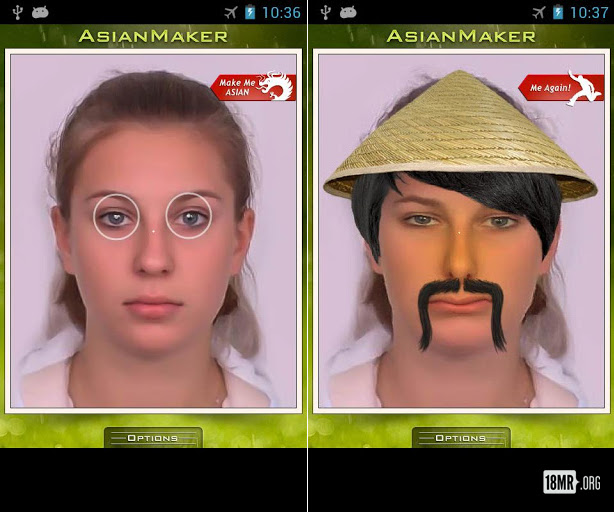 Two images before and after photo of a white woman in the Asian Maker application. In the second image, her eyes are purposely smaller, wearing a straw pointed hat and exaggerated goatee mustache.