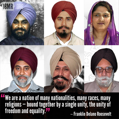 A grid of portraits of the six victims of the Oak Creek massacre: five Sikh men in turbans and beards, of various ages, and one woman wearing a purple head covering. The bottom of the image reads: 'We are a nation of many nationalities, many races, many religions - bound together by a single unity, the unity of freedom and equality.' - Franklin Delano Roosevelt