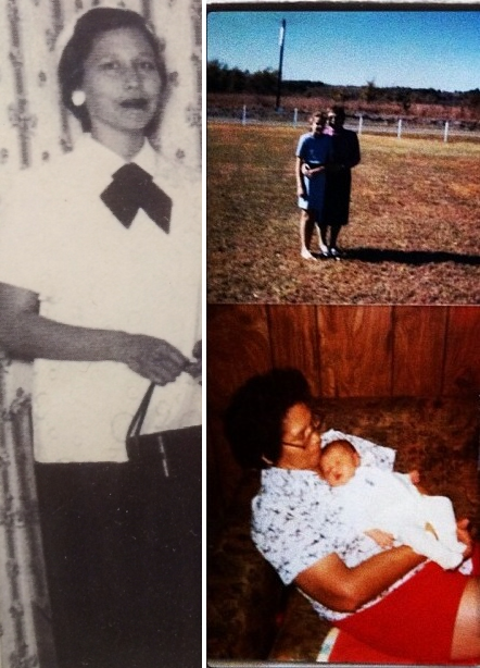 A collage of three images: on the left, an old photograph of a young Native American woman in a white shirt, dark skirt, and tie. On the top right, a pair of women, one older and one younger, standing in a field, hugging. On the bottom right, a woman in a t-shirt and shorts holding a very young baby.