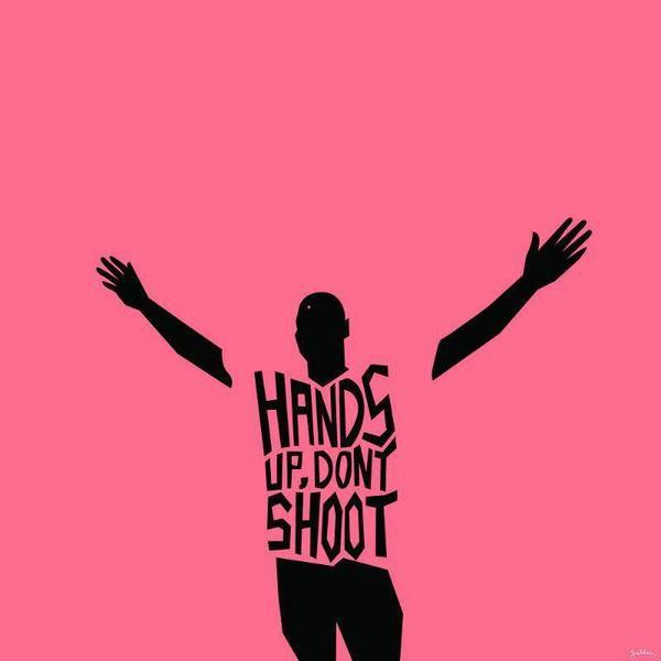 A stylized silhouette of a Black man on a pink background, with his hands spread in the air, wearing a t-shirt reading 'HANDS UP, DON'T SHOOT.'