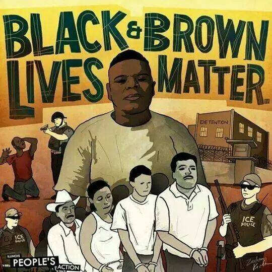 A drawing with the headline 'Black & Brown Lives Matter' features Michael Brown in the center. Clockwise, from the right, an immigration detention center; an ICE officer with a shotgun; a line of migrants in chains; and a police officer with a drawn pistol pointing at a Black man on his knees.