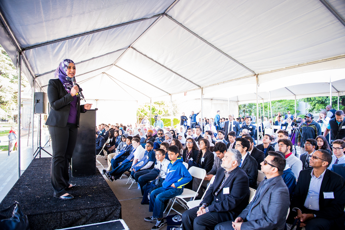 The author welcomes a crowd of over 600 California Muslims to the Capitol in 2016, where they gathered to advocate for several key legislative priorities including AB 2845.