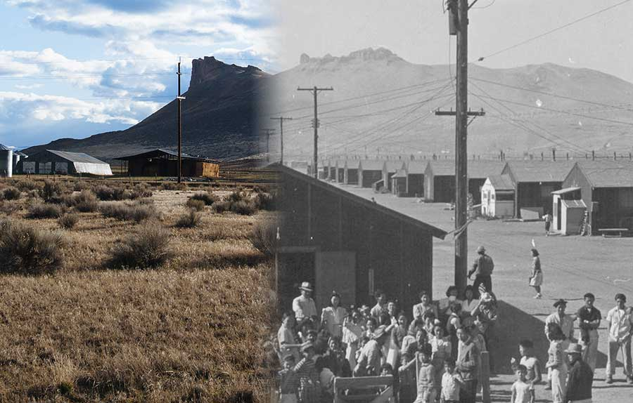 A side-by-side of Tule Lake today, and during the war, showing buildings, a mountain, and flat empty land.